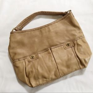Marc by Marc Jacobs turnlock tan leather hobo bag